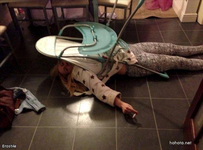 Пьяная мать застряла