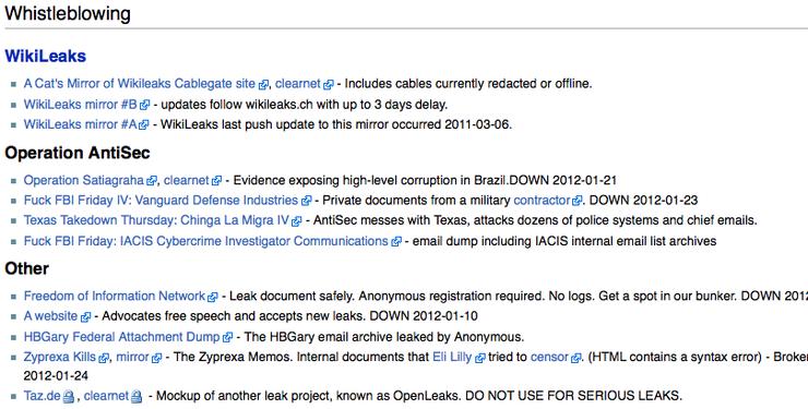 Поскольку обычная поисковая индексация в сети недоступна, в TORе популярны