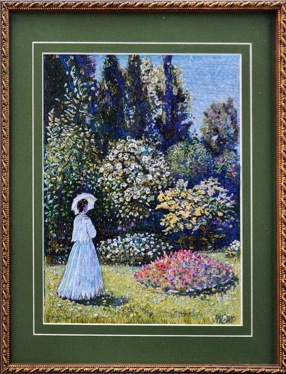 Вышивка дама в саду моне