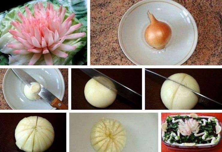 как делать из лука хризантему видео