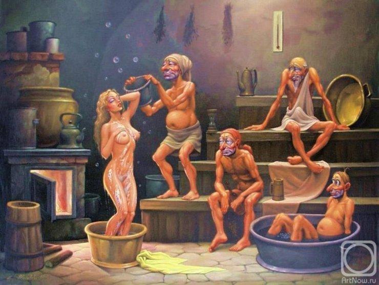 В женской бане мужик, порно хорошем